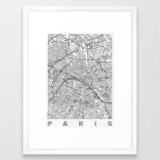 Paris Map Line- 10 x 12 - Vector White Frame - Society6