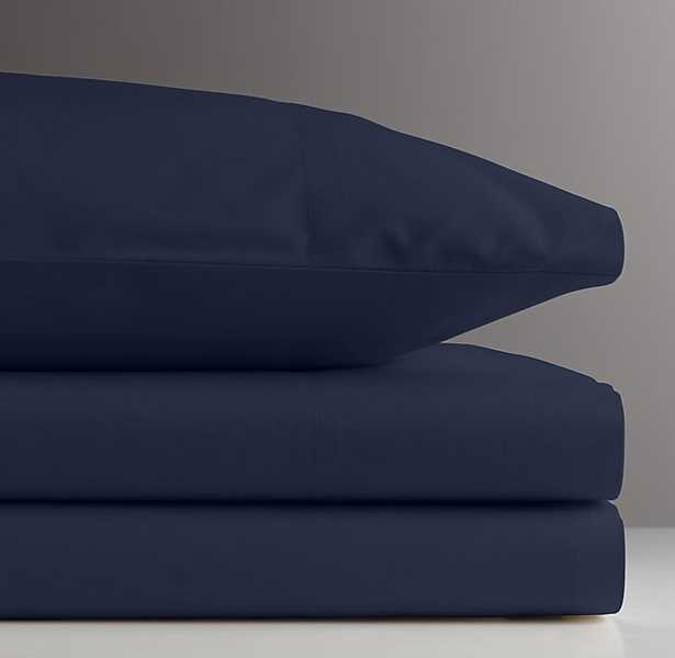 VINTAGE-WASHED PERCALE CRIB FITTED SHEET - Navy - RH Baby & Child