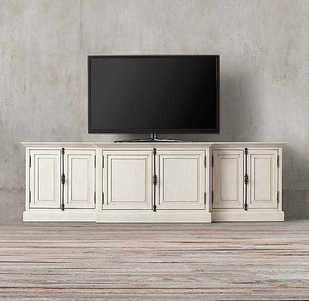 """FRENCH PANEL MEDIA CONSOLE -  80"""", distressed white - RH"""