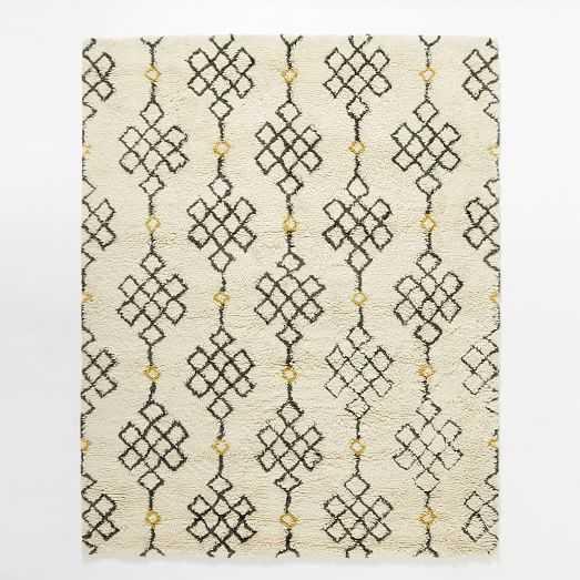 Fes Wool Shag Rug - Ivory / Slate - 8' x 10' - West Elm