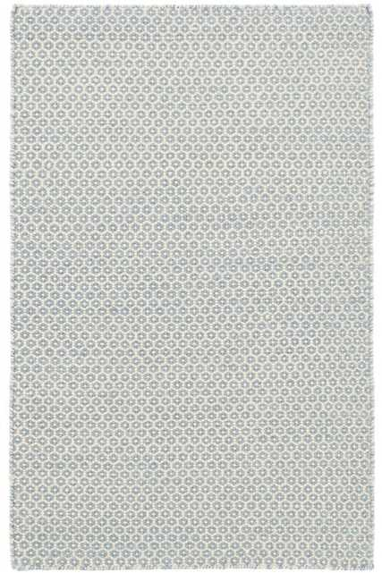HONEYCOMB FRENCH BLUE/IVORY WOOL WOVEN RUG -2.5 x 8 - Dash and Albert