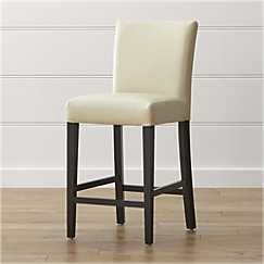 Lowe Ivory Leather Bar Stool - Crate and Barrel