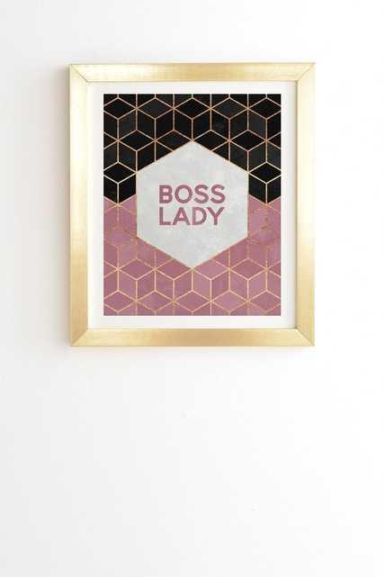 "Boss Lady 1 - 14"" x 16.5"" -Basic Gold Frame - Wander Print Co."