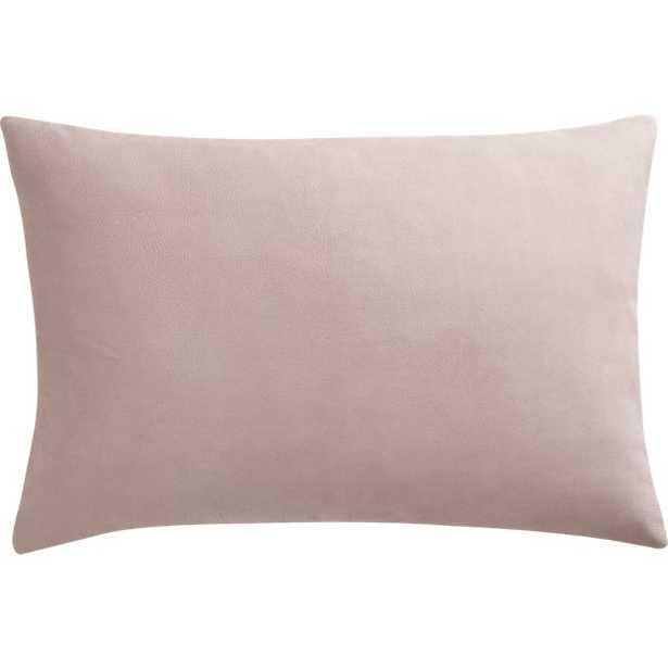 "Loki Blush Leather 18"" x 12"" Pillow - Down-Alternative Insert - CB2"