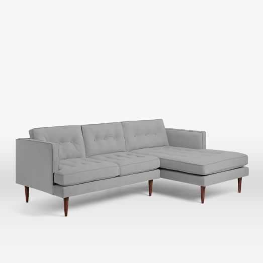 Peggy Mid-Century RIght Chaise 2-Piece Sectional-Heathered Crosshatch, Feather Gray - West Elm