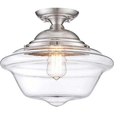 "Possini Euro Schoolhouse 13""W Brushed Steel Ceiling Light - Lamps Plus"
