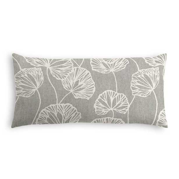 Modern gray fan leaf lumbar pillow - 12x24 - Down Insert - Loom Decor