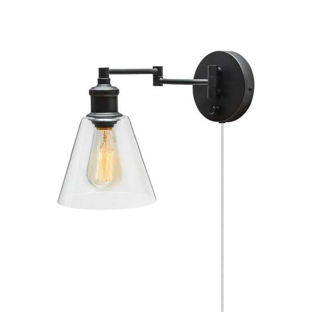 1-Light Dark Bronze Plug-in Wall Sconce with Clear Glass Shade - Home Depot