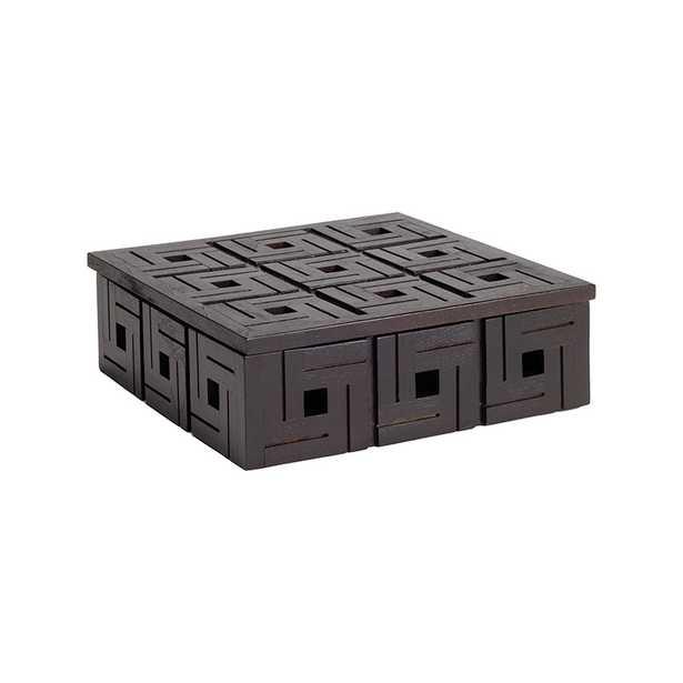 Chocolate Teak Patterned Box - sm - Rosen Studio