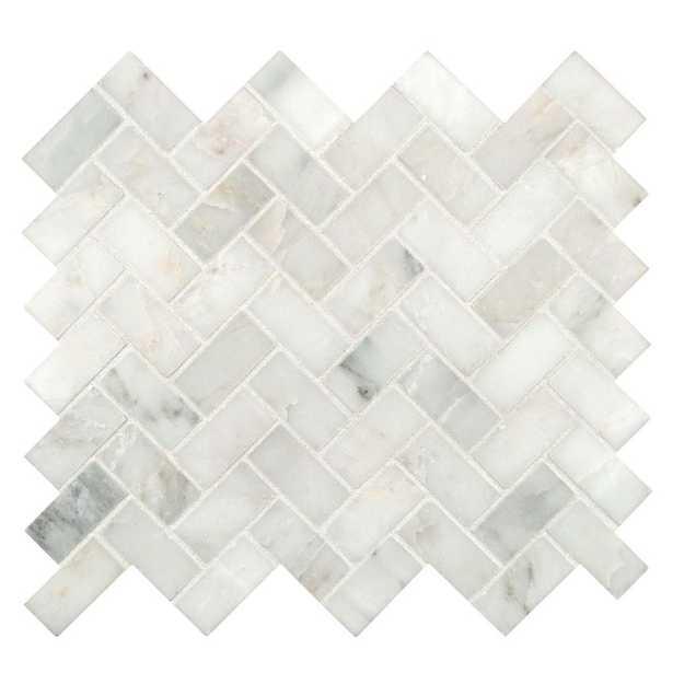 Arabescato Carrara Herringbone Honed Marble Mesh-Mounted Mosaic Tile - Case - Home Depot