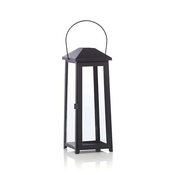Petaluma Medium Black Metal Lantern - Crate and Barrel