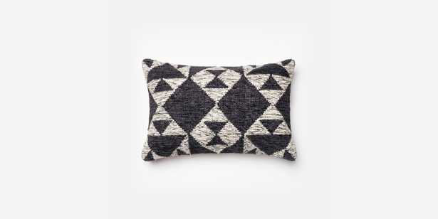 """P0098 CHARCOAL / IVORY Pillow - 13"""" x 21"""" - Poly Insert - Loma Threads"""