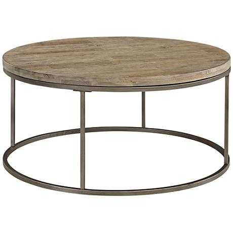 Alana Steel and Acacia Wood Top Round Coffee Table - Lamps Plus