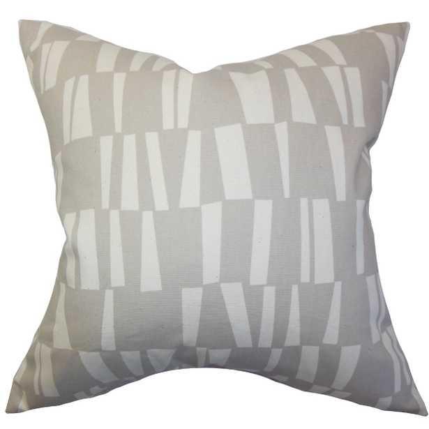 """Iker Geometric Pillow Gray - 18"""" x 18"""" - Down Insert - Linen & Seam"""