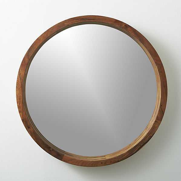 Acacia wood wall mirror - CB2