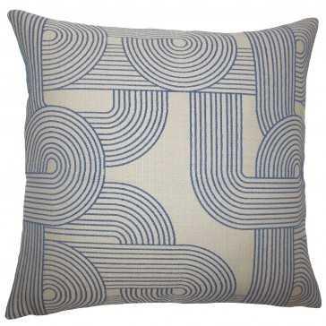 """Utara Geometric Pillow Navy - 18"""" x 18"""" -down fill - Linen & Seam"""