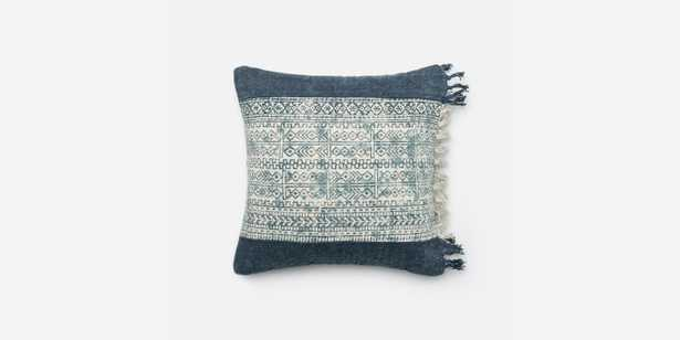 """P0280 Blue / Ivory Pillow Cover - 18"""" x 18"""" - Down Insert - Loma Threads"""