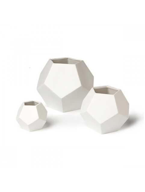 DwellStudio Faceted White Vase - Large - Lulu and Georgia