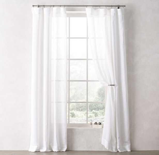 """Sheer Linen-Cotton Drapery Panel  - White -  84""""L - RH Teen"""