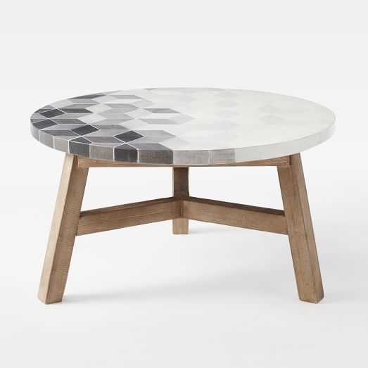 Mosaic Tiled Coffee Table - Isometric Concrete Top - West Elm