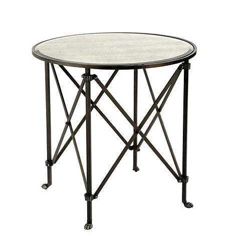 Olivia Round Mirrored Side Table - Oil Rubbed Bronze - Ballard Designs