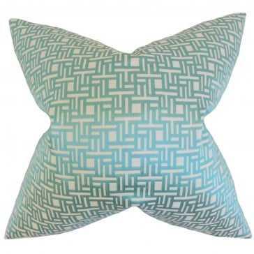 "Daphnis Geometric Pillow - 18"" x 18"" - With Insert - Linen & Seam"