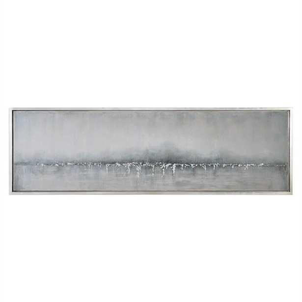 Tides Edge - 21 W X 71 H (in) - Silver leaf frame without Mat - Hudsonhill Foundry