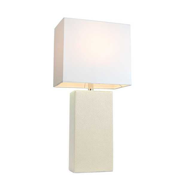 Monaco Avenue 21 in. Modern White Leather Table Lamp with White Fabric Shade - Home Depot