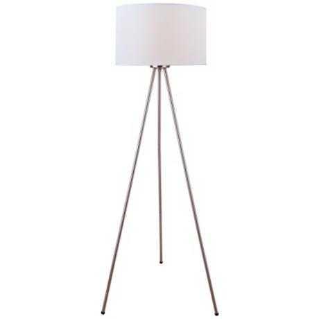 Lite Source Tullio Tripod Polished Steel Floor Lamp - Lamps Plus