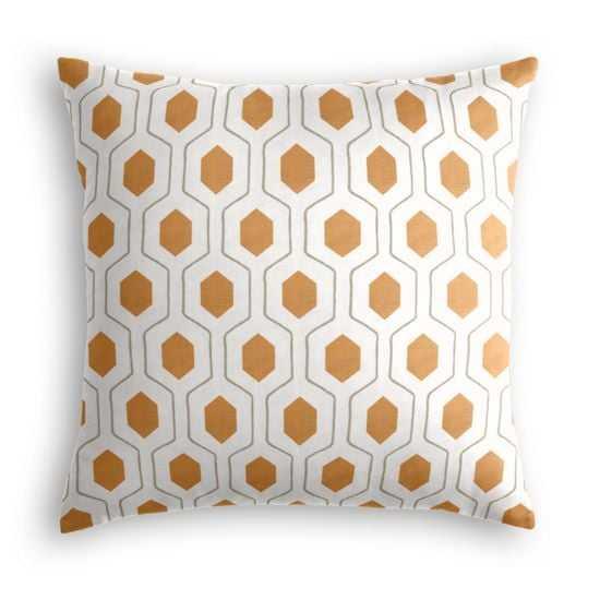 Beige & Orange Hexagon Pillow - 18x18 - Everson Pumpkin - Classic Linen-Brindle - Poly insert - Loom Decor