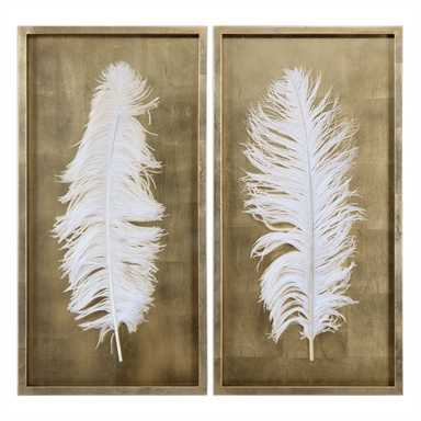 White Feathers, S/2 -  Framed (Gold) - Hudsonhill Foundry
