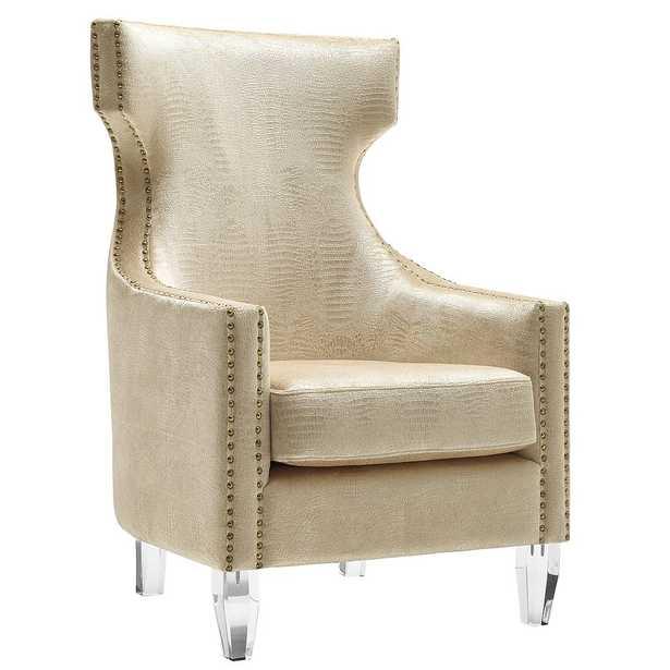 Annalise Lilly Croc Velvet Wing Chair (Backordered 5/9/21) - Maren Home