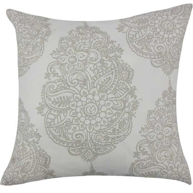 Lanza Damask Pillow - 20''x20'', Down Insert - Linen & Seam