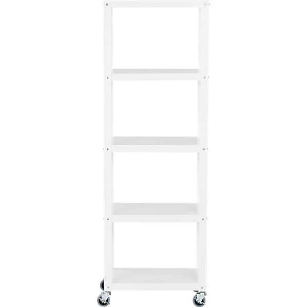 Go-cart white five-shelf rolling bookcase - CB2