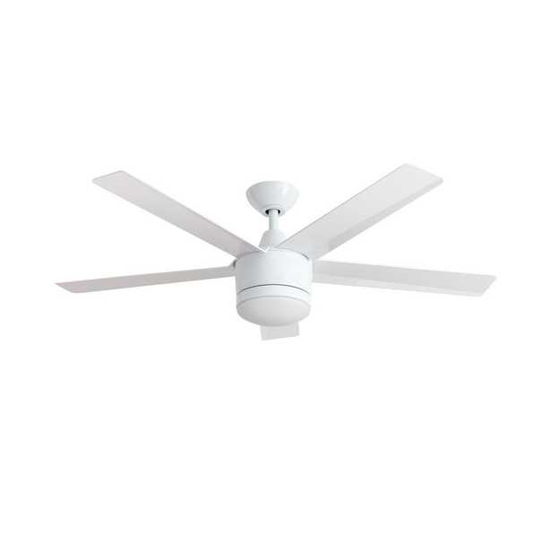 Merwry 52 in. LED Indoor White Ceiling Fan - White - Home Depot