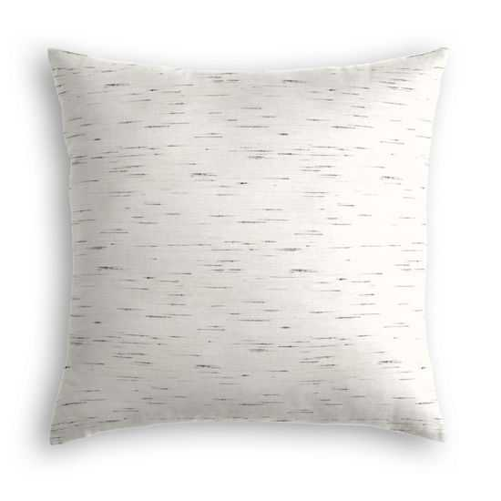 """Throw Pillow  Sunbrella® Frequency - Parchment - White/Gray -  18""""Sq - Down Insert - Loom Decor"""