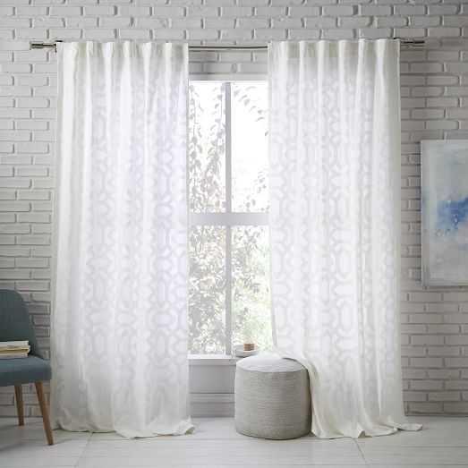 "Sheer Lattice Curtain-White-96"" - West Elm"