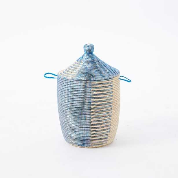 Graphic Printed Medium Basket, Navy/Natural - West Elm