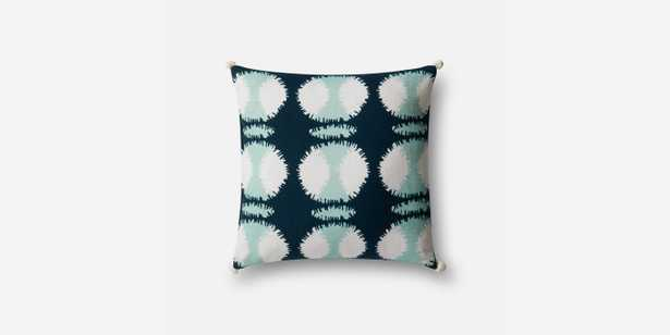 """P0480 TEAL / WHITE Pillow - 22"""" x 22"""" with Poly Insert - Loma Threads"""