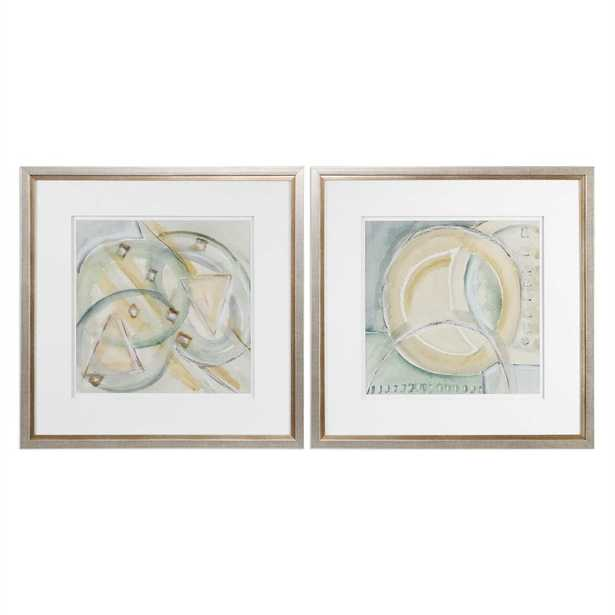 """Abstracts, S/2 - 32"""" W X 32"""" H - Champagne Frame with Mat - Hudsonhill Foundry"""