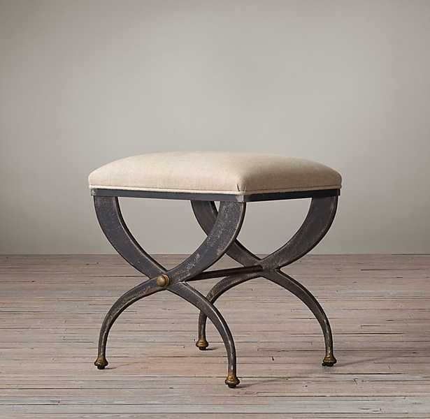 19TH C. FRENCH S-CURVE UPHOLSTERED STOOL - RH