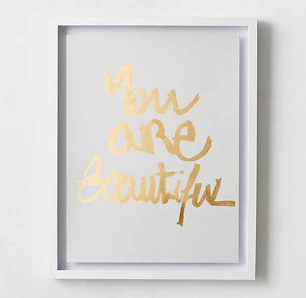 QUOTES METALLIC FOIL ART - YOU ARE BEAUTIFUL - 24x30 - White frame - RH Teen