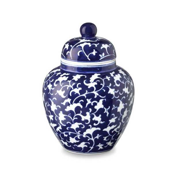 Vine Motif Temple Jar-Blue & White - Williams Sonoma Home