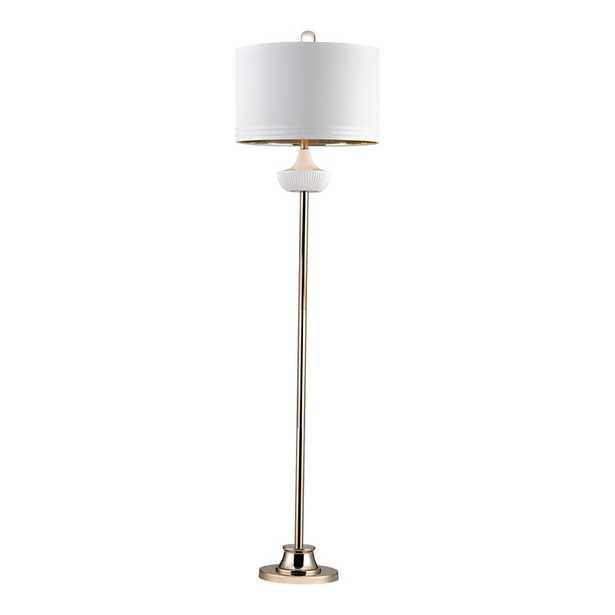 White Ribbed Cube Floor Lamp - Rosen Studio