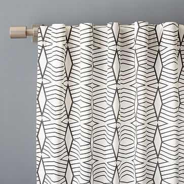 "Cotton Canvas Diamond Stripe Curtain, Slate, 48""x96"" - West Elm"
