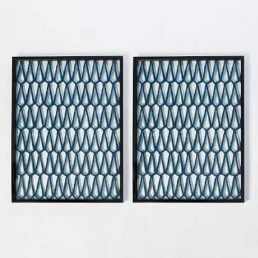 """Framed Handmade Paper Wall Art, Set of 2, Geo Trellis, 42""""x32"""" - West Elm"""