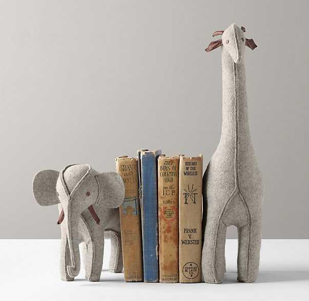 Wool felt animal bookend - Giraffe - Grey - RH Baby & Child