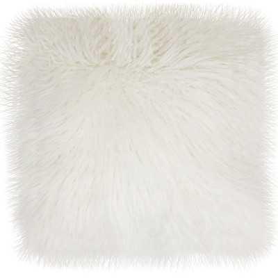 Keller Faux Mongolian Fur Throw Pillow - Bright White - 16''  x 16''  - Polyester fill - Wayfair