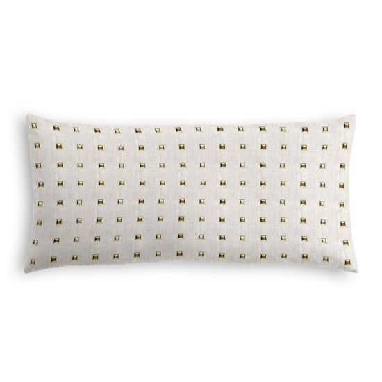 "Light Taupe Gold Studded Lumbar Pillow - Stud Muffin - Oatmeal - 12"" x 24"" - Down insert - Loom Decor"