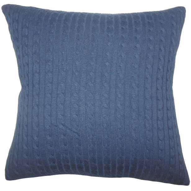 """Ochekka Knit Pillow Navy - 18"""" x 18"""" - Down Insert - Linen & Seam"""
